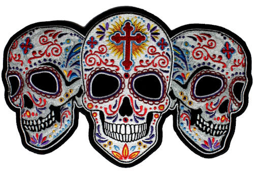 Sugar skull biker patch