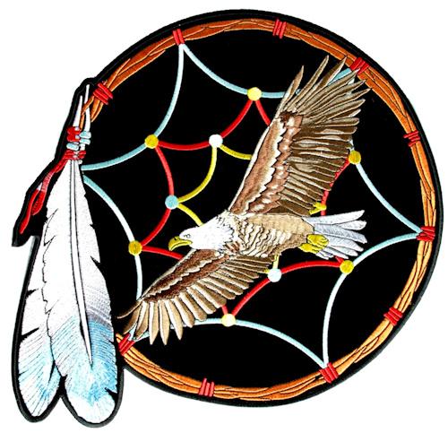 Eagle dream catcher biker patch