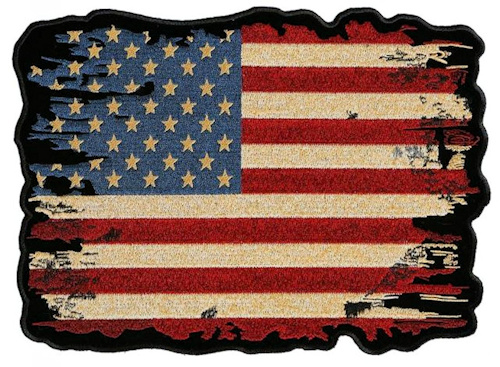 Distressed American flag biker patch