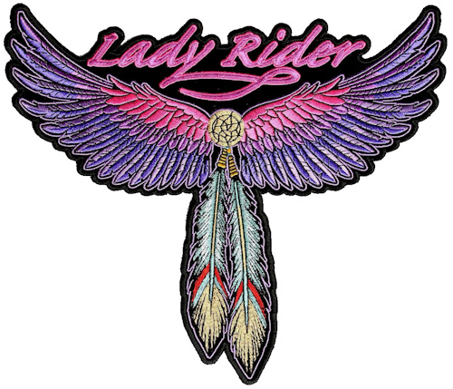 Lady rider wings, feathers biker patch