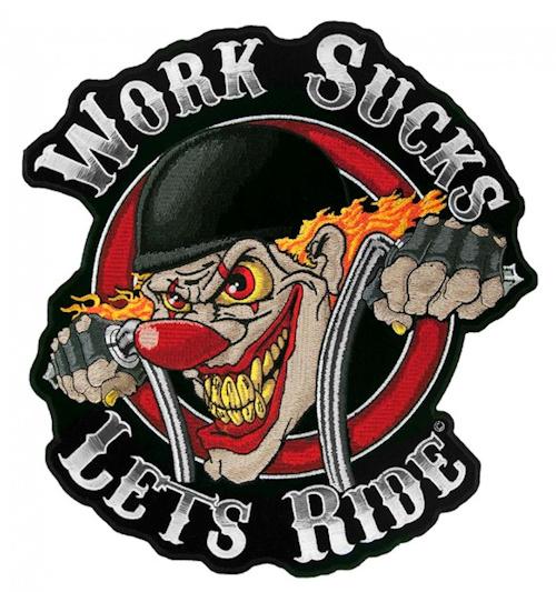 Crazy clown biker patch