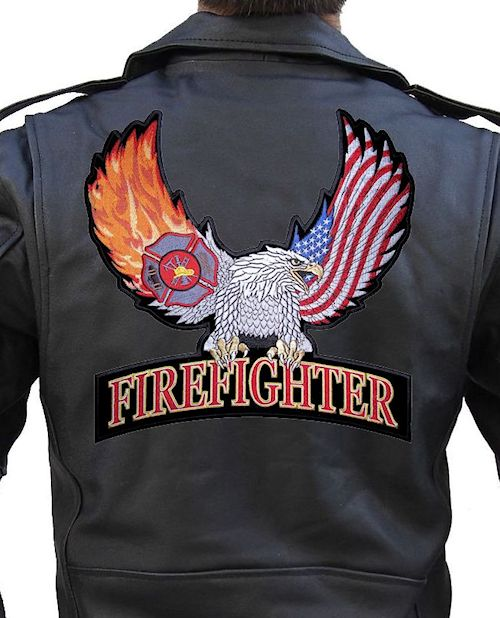 Eagle firefighter biker patch