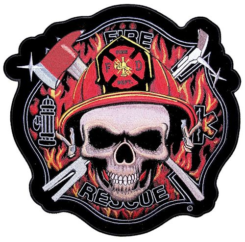 Firefighter skull biker patch