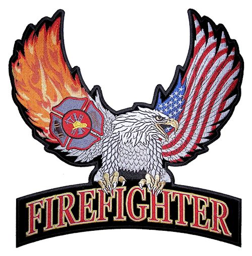 Firefighter eagle with American flag patch