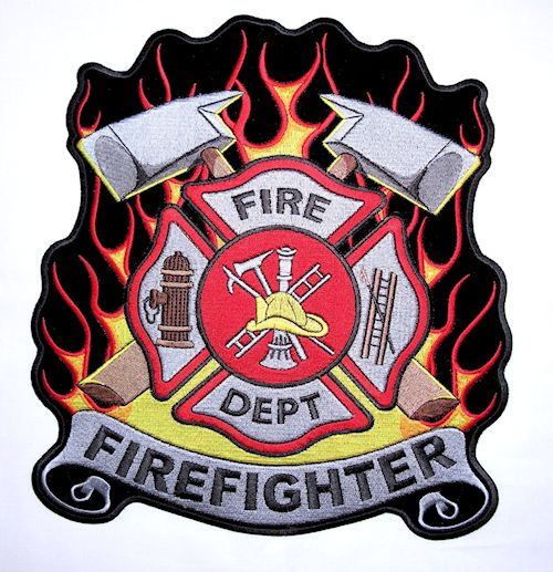 Firefighter Maltese cross flames biker patch