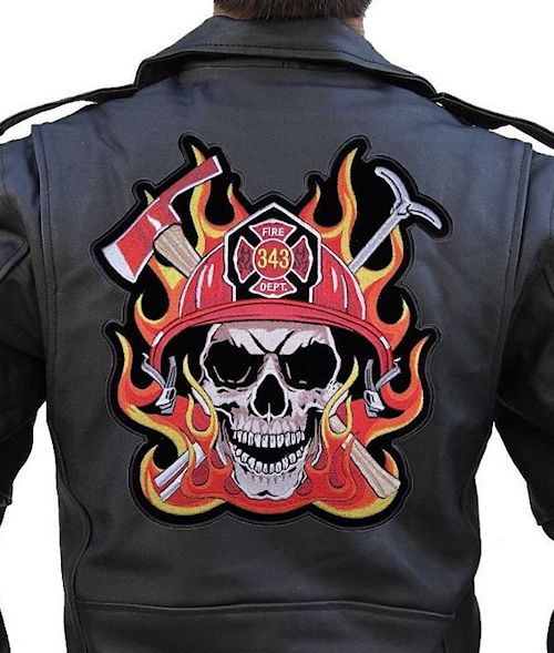 Fireman, firefighter biker patches