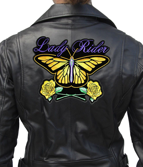 Lady rider butterfly biker patch