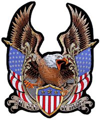 Patriotic American eagle and flags biker patch