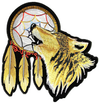 Howling wolf with dream catcher patch