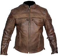mens retro brown buffalo hide cafe leather jackets