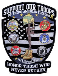 Support our troops biker patch