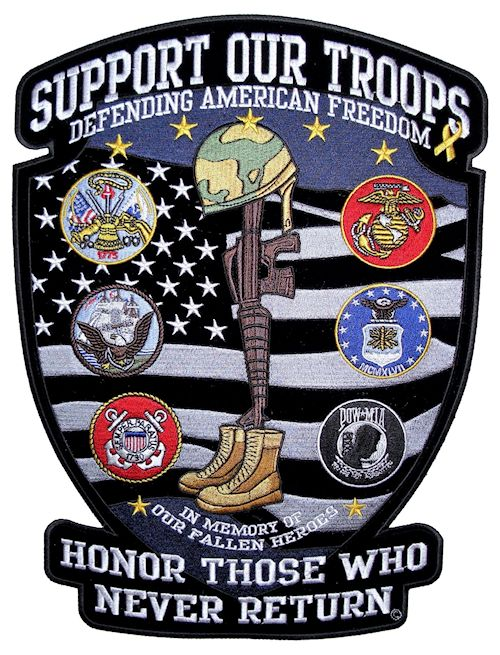 Support out troops patriotic veterans biker patch