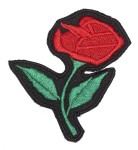 Red rose lady biker patch