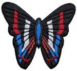 Ladies biker patch patriotic butterfly