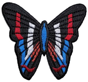 Ladies biker patch patriotic butterfly