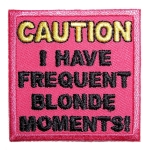 Pink ladies biker patch blonde slogan