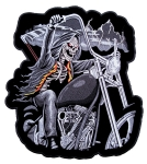 Large biker patch of the grim reaper on a motorcycle