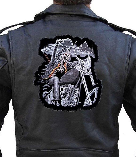 Riding Reaper Patch Embroidered Biker Back Jacket Patch