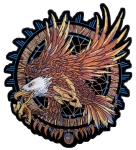 Indian dream catcher with bald eagle biker patch