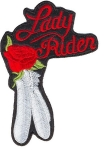 Ladies biker patch red rose
