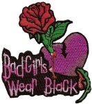 Bad girl biker patch heart and rose