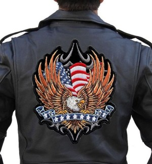 Large patriotic eagle flag biker patch
