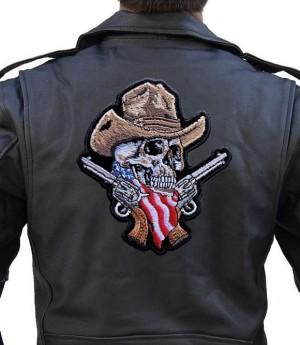 Large rider patch cowboy skeleton