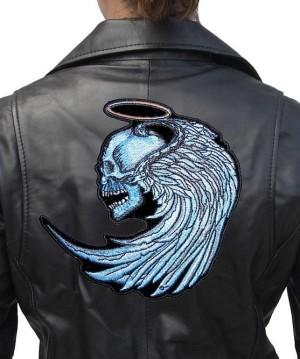 Large biker patch for ladies blue angel