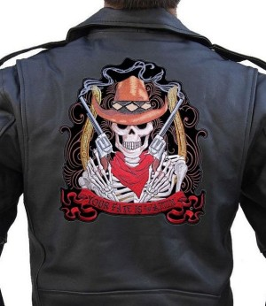 Large biker patch skeleton cowboy