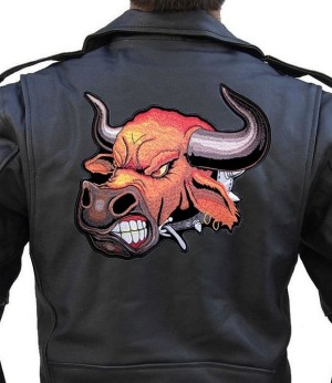 Angry bull leather jacket patch