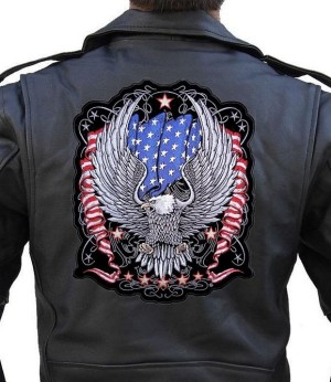 Patriotic biker patch with flag and eagle