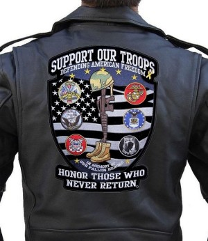 Large biker patch support our troops