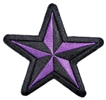 Purple and black star biker patch