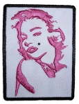 Pink biker patch of Marilyn Monroe