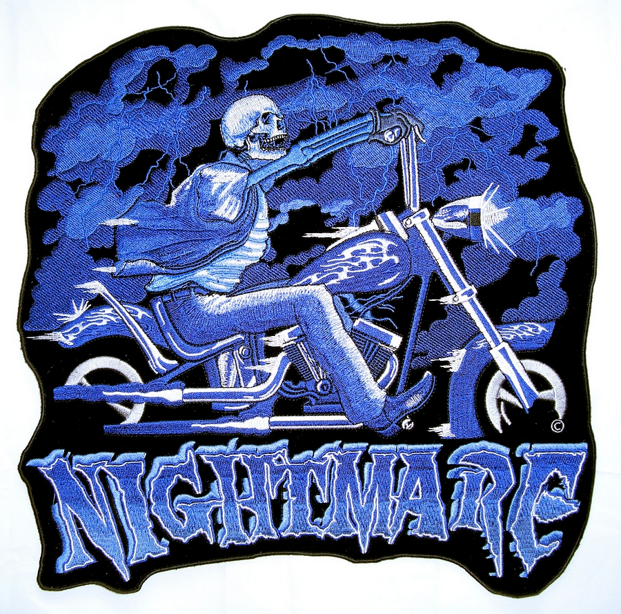 Nightmare Skeleton On Motorcycle Embroidered Biker Patch