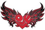 Red biker patch winged heart