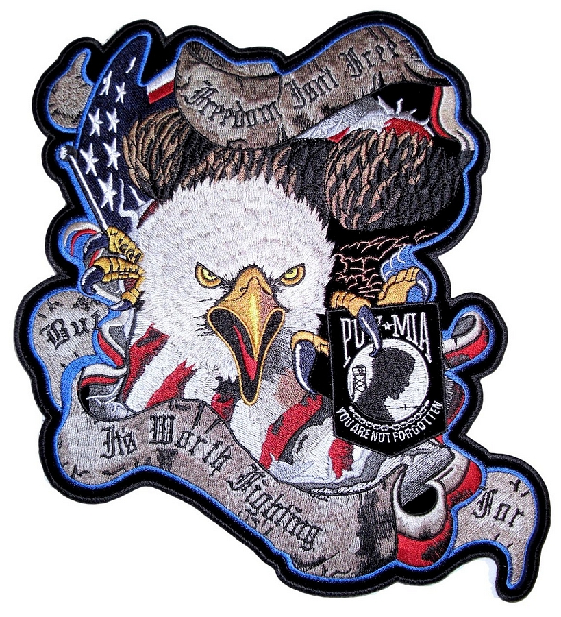 patriotic american flag eagle mia embroidered biker patch