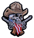 Skeleton cowboy biker patch