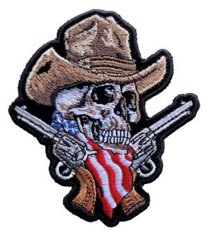 Skeleton cowboy biker patch