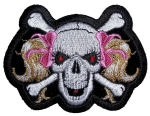 Skull pink ribbons patch
