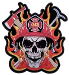 Biker patch skull flames firefighter
