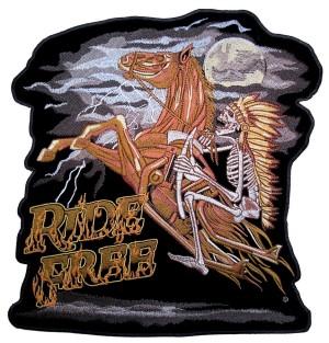 Biker patch skeleton horse rider