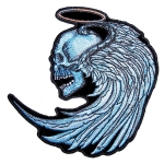 Biker patch skull halo angel wings