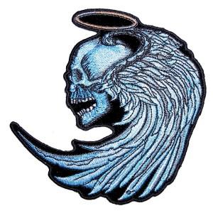Biker patch skull halo angel wings