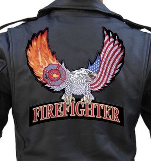 Fireman with eagle patch