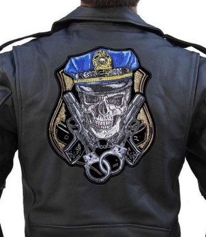 Large biker patch of skull in cop cap