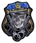 Biker patch skull with cop hat