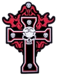 Large cross and skull biker patch