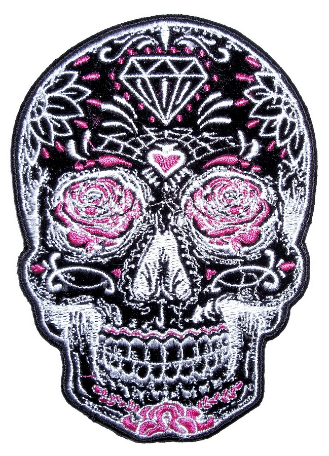Day Of The Dead Sugar Skull Ladies Embroidered Biker Patch ...