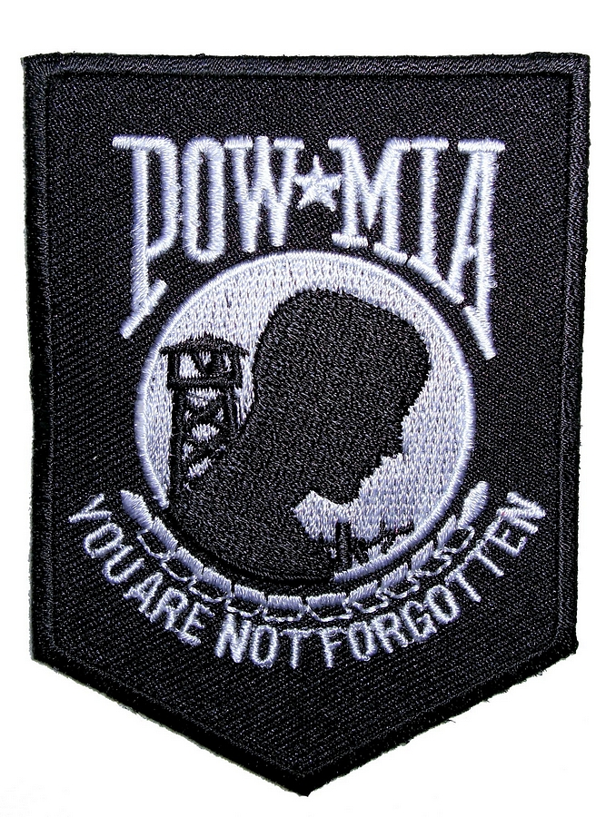 Pow mia you are not forgotten shield embroidered biker